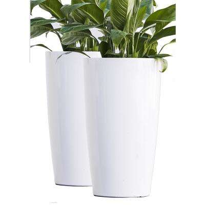 Xbrand 17 in. Tall White Plastic Nested Self Watering Indoor/Outdoor Round Tall Planter Pot w/ Glossy Finish (Set of 2)