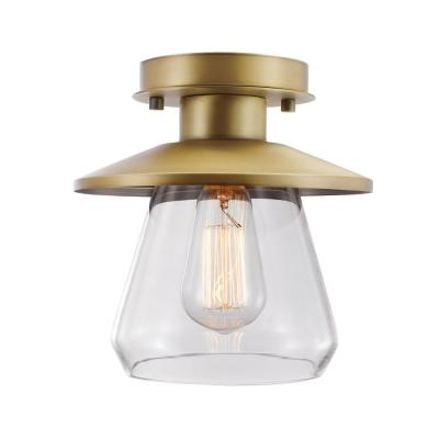 Nate 1-Light Brass Semi-Flush Mount with Clear Glass Shade