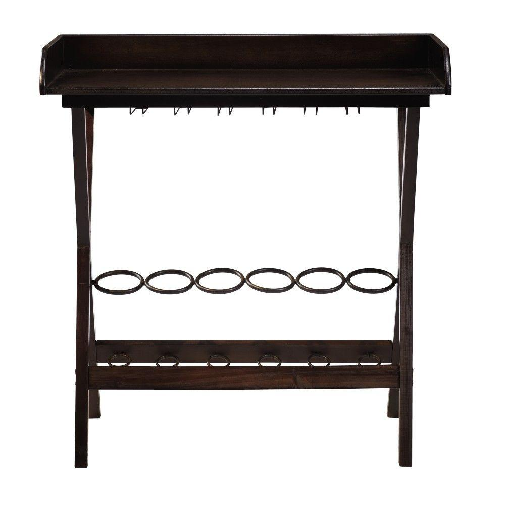 Home Decorators Collection 34 in. H Wine Tray in Chardonnay Dark Brown