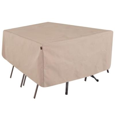 Chalet Water Resistant Rect/Oval Outdoor Patio Table and Chair Cover, 72 in. W x 44 in. D x 23 in. H, Beige