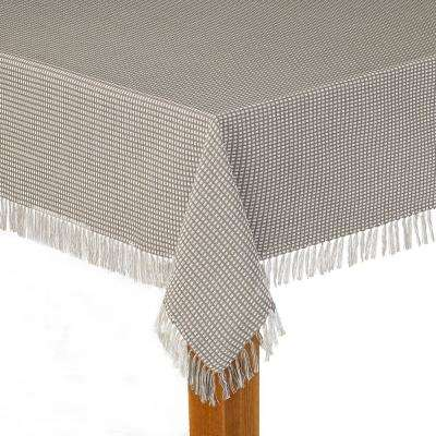 Homespun Fringed 60 in. x 120 in. Grey 100% Cotton Tablecloth