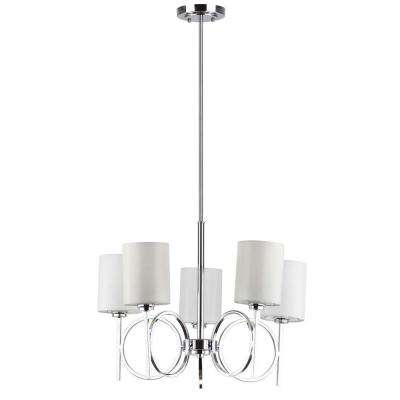 Meredith Bracelet 5-Light Chrome Chandelier with Off-White Shade