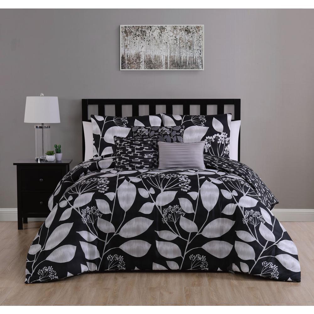 Mirelle 7-Piece Black Queen Comforter Set w/ Bedskirt