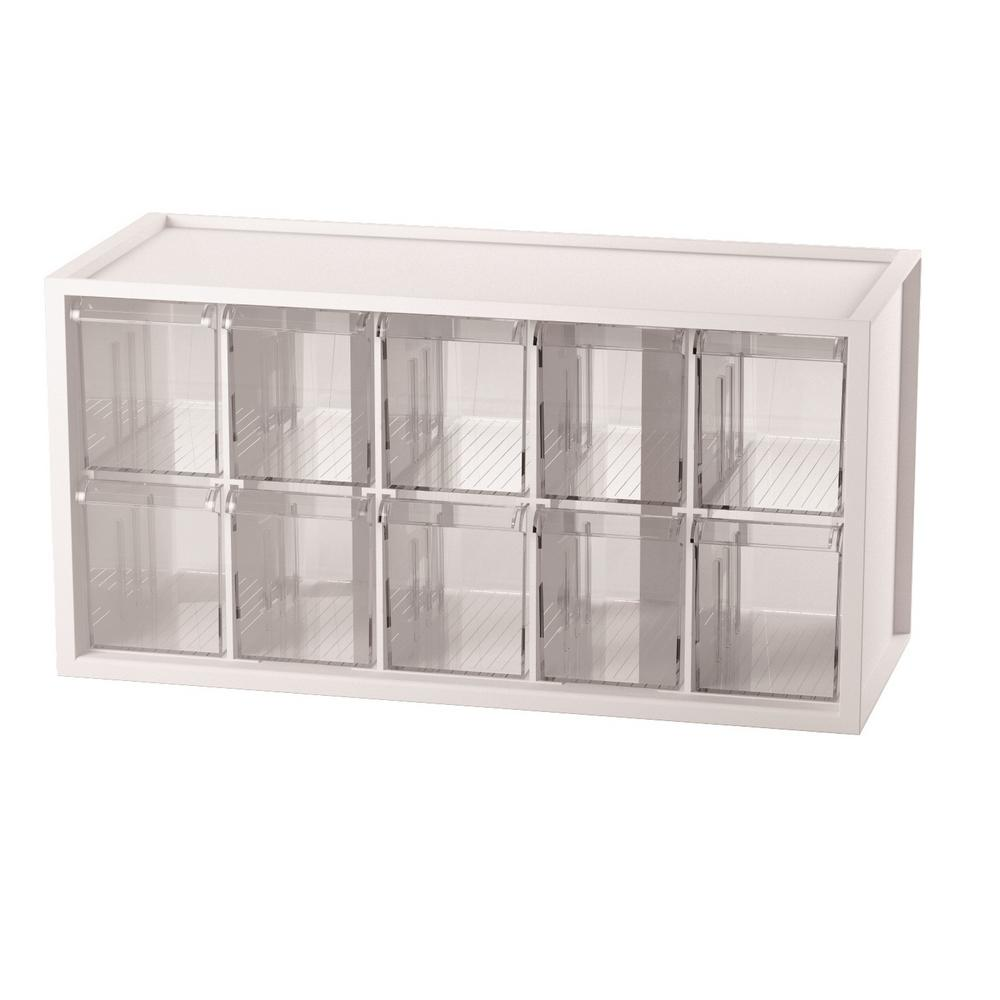 Stationery Crafts and Hardware Organizer Plastic Storage Bin with 10 Transparent