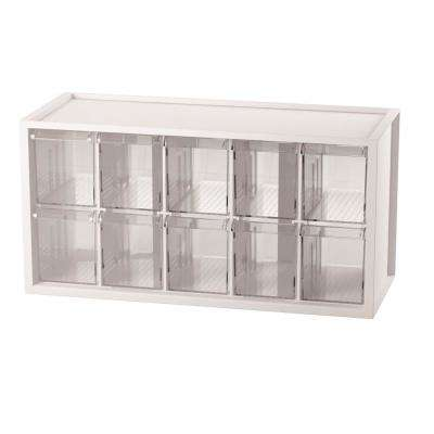 Stationery Crafts and Hardware Organizer Plastic Storage Bin with 10 Transparent Compartments in White