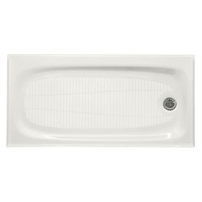Salient 60 in. x 30 in. Cast Iron Single Threshold Shower Base with Right-Hand Drain in White
