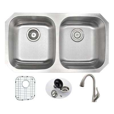 MOORE Undermount Stainless Steel 32 in. Double Bowl Kitchen Sink and Faucet Set with Accent Faucet in Brushed Nickel