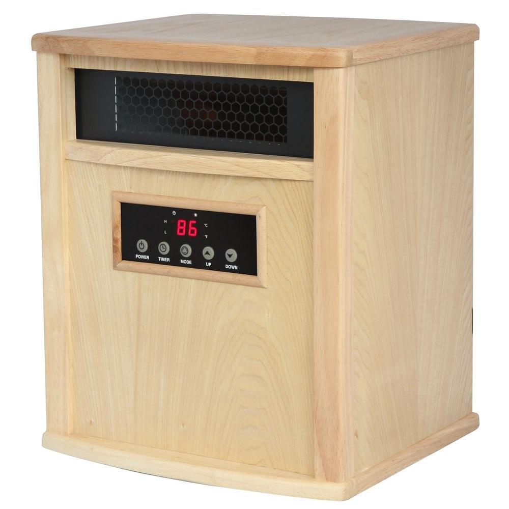 American Comfort Titanium 1500-Watt Infrared Electric Portable Heater with built in UV-C Air Purifier - Oak