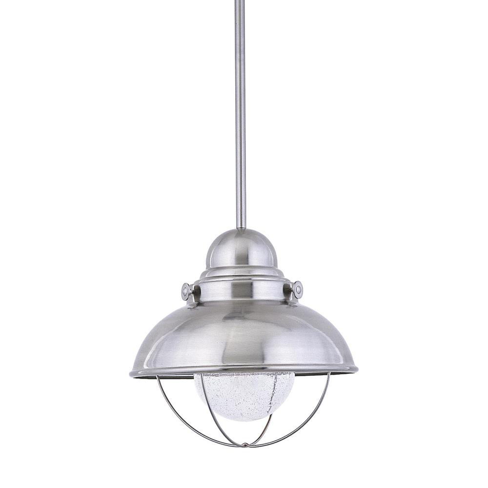 sea gull lighting sebring brushed stainless integrated led hanging