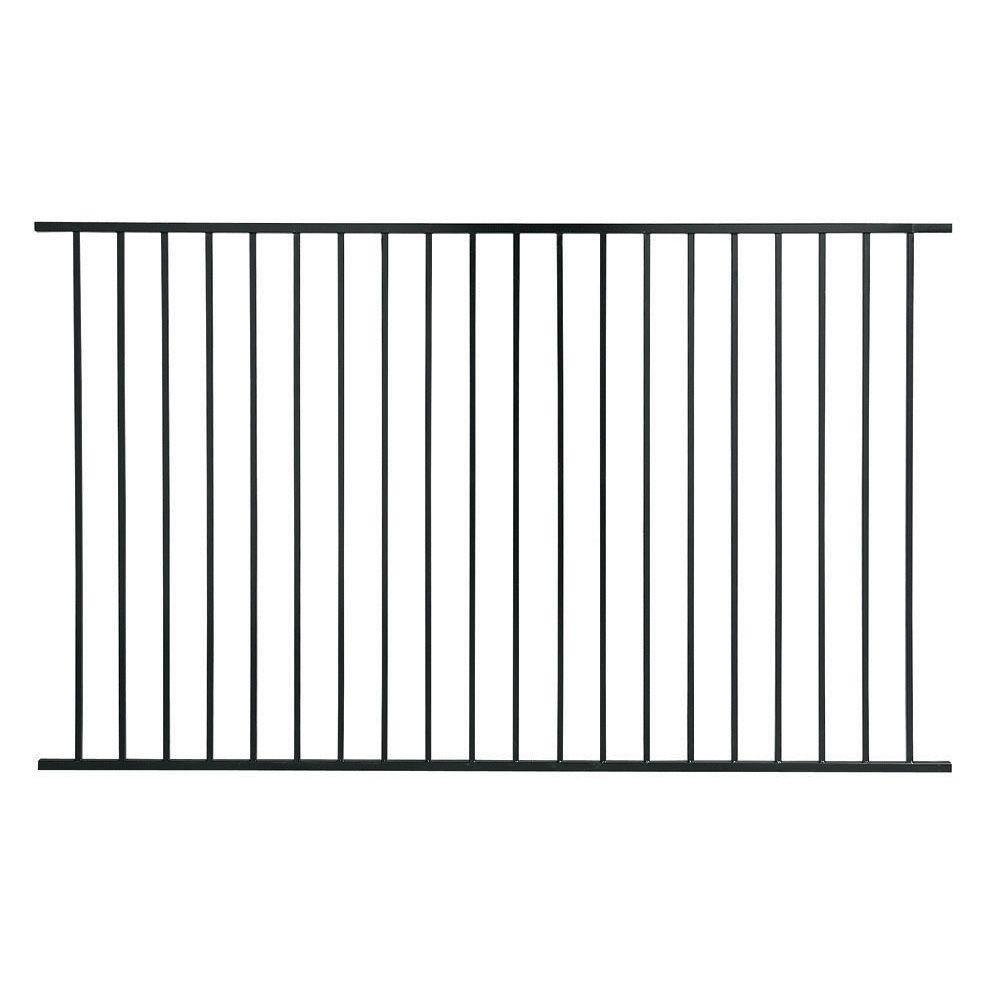 US Door & Fence Pro Series 4.84 ft. H x 7.75 ft. W Black Steel Fence ...