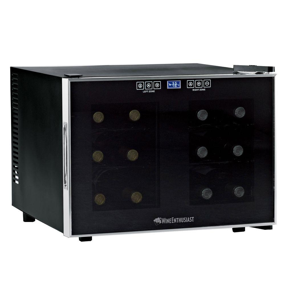 wine enthusiast wine cooler wine enthusiast 12 bottle dual zone touchscreen wine 31189