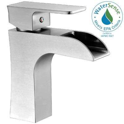 Forza Series Single Hole Single-Handle Low-Arc Bathroom Faucet in Brushed Nickel