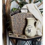 10 in. White Ceramic Decorative Vase with Pitcher-Inspired Body and Barn Animal Illustrations (Set of 3)
