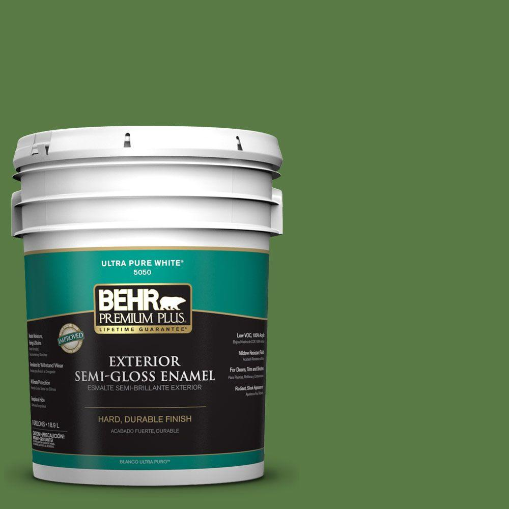 5-gal. #S-H-430 Mossy Green Semi-Gloss Enamel Exterior Paint
