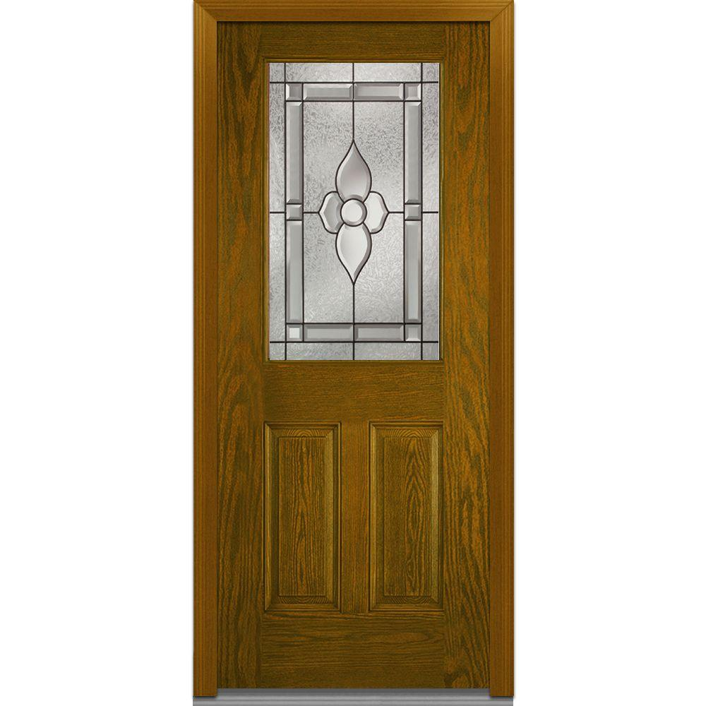 Mmi Door 32 In X 80 In Master Nouveau Right Hand 1 2 Lite 2 Panel Classic Stained Fiberglass