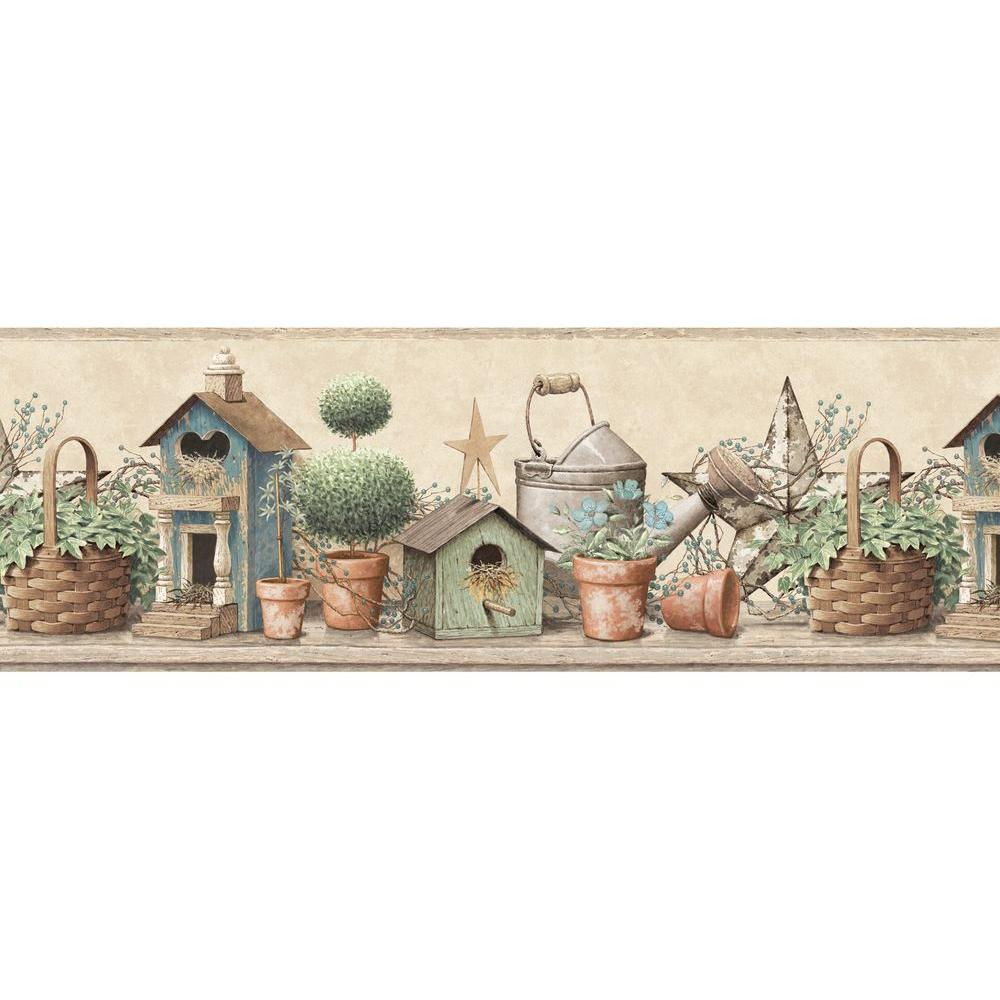 Chesapeake shandi blue bird hill wallpaper border sample for Wallpaper borders for your home