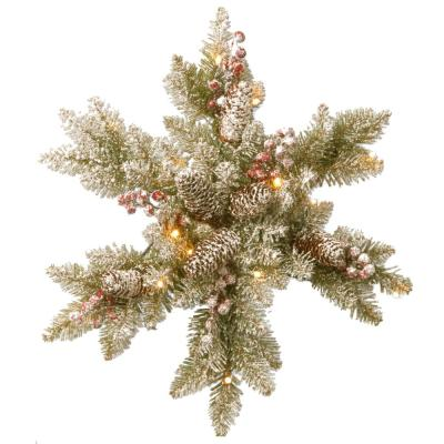 Dunhill Fir Snowy 18 in. Artificial Snowflake with Battery Operated Warm White LED Lights