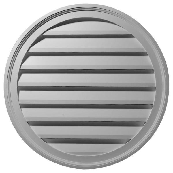 36 in. x 36 in. Round Primed Polyurethane Paintable Gable Louver Vent Functional