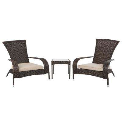 Coconino Mocha 3-Piece Resin Wicker Patio Conversation Set with Polyester Tan Cushions