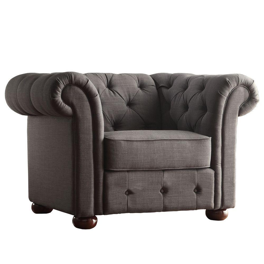 Radcliffe Dark Grey Linen Arm Chair