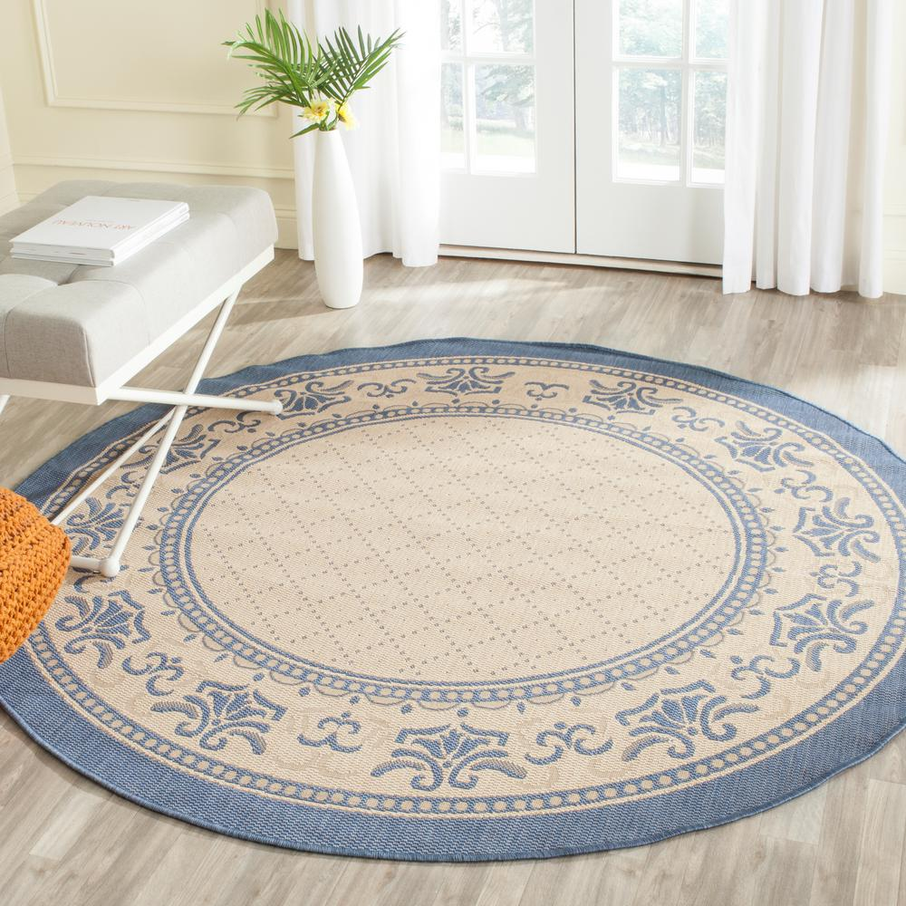 Indoor Outdoor Rugs Home Depot: Safavieh Four Seasons Natural/Blue 6 Ft. X 6 Ft. Indoor