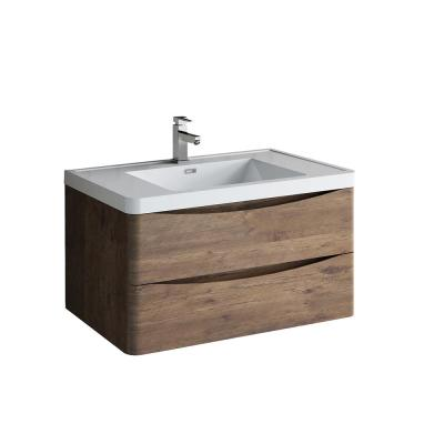 Tuscany 36 in. Modern Wall Hung Vanity in Rosewood with Vanity Top in White with White Basin