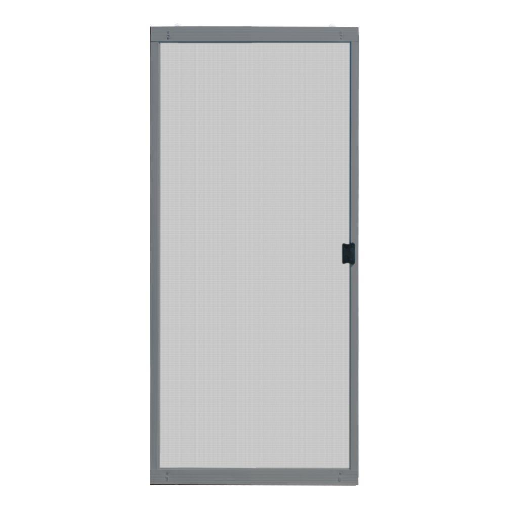 Unique Home Designs 36 In X 80 In Standard Grey Metal Sliding Patio Screen Door Ispm200036gry