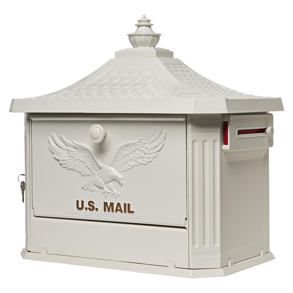 Hamilton Premium, Large, Locking, Aluminum, Post Mount Mailbox, White