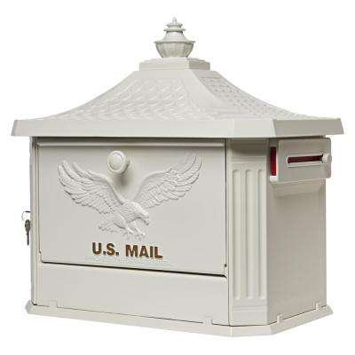Hamilton White Locking Aluminum Large Post-Mount Mailbox
