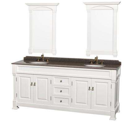 Andover 80 in. W x 23 in. D Vanity in White with Granite Vanity Top in Imperial Brown with White Basins and Mirrors