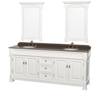 Wyndham Collection Andover 80 inch W x 23 inch D Vanity in White with Granite Vanity Top... by Wyndham Collection