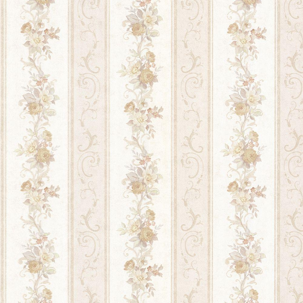 Mirage Lorelai Taupe Floral Stripe Wallpaper 992 68302 The Home