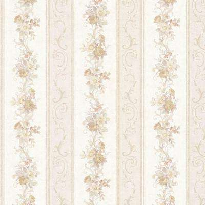 Lorelai Taupe Floral Stripe Wallpaper