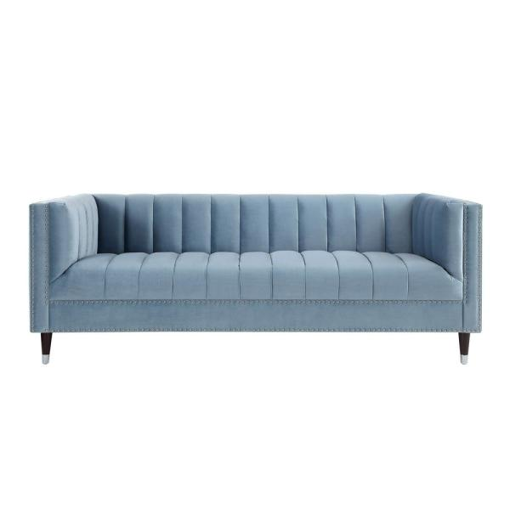 Strange Nicole Miller Joan Slate Blue Chrome Velvet Sofa With Line Ibusinesslaw Wood Chair Design Ideas Ibusinesslaworg