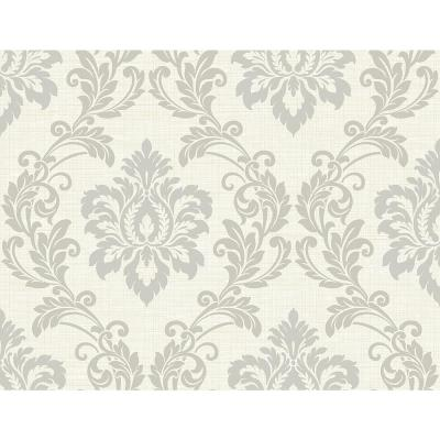8 in. x 10 in. Adela Ivory Twill Damask Sample