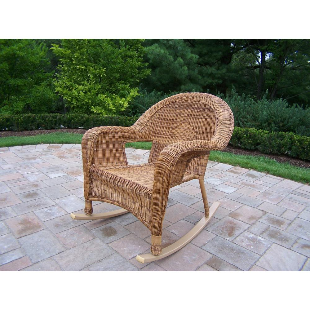 Natural Wicker Outdoor Rocking Chair (2 Pack)