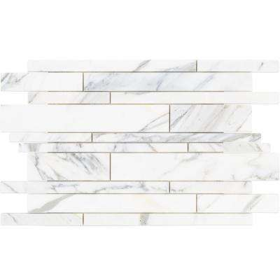 Seres Calacatta Marble Mosaic - 3 in. x 6 in. x 9.5 mm Tile Sample
