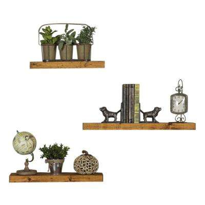 True Floating 5.5 in Walnut Pine Wood Floating Set of Three Decorative Wall Shelves with Brackets