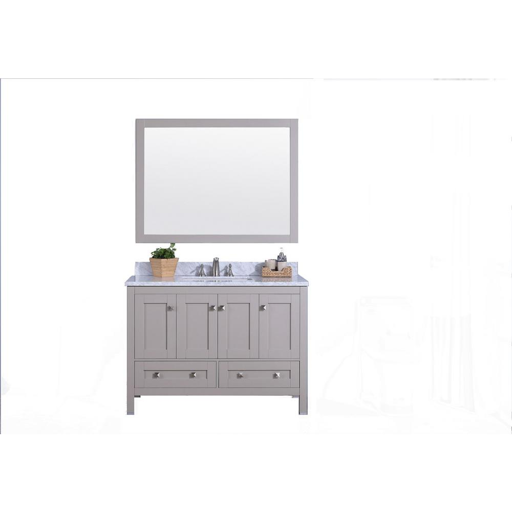 49 in. W x 22 in. D Bath Vanity in Warm Gray with Marble Vanity Top in White and Gray with Basin in White and Mirror
