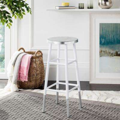 Kenzie 30 in. Silver Dipped Bar Stool in White