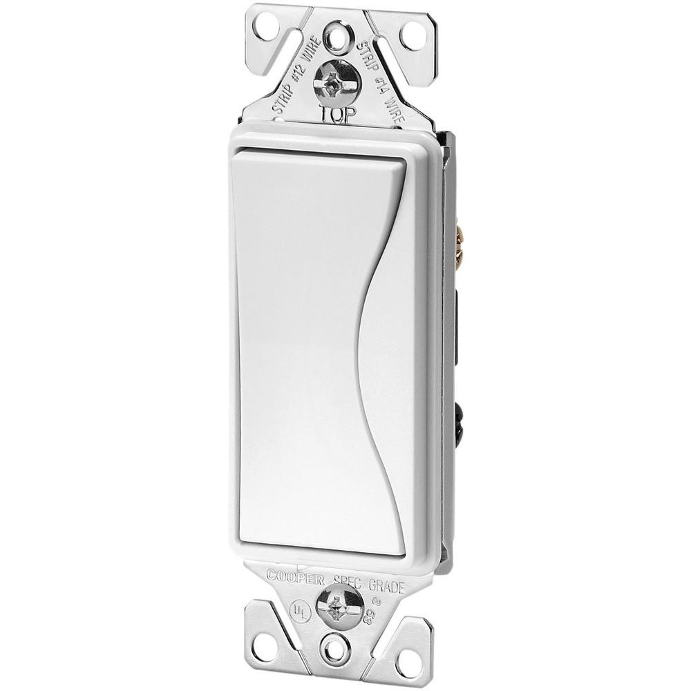 Aspire 15 Amp Side Wire/Push Wire 3-Way Switch, Alpine White
