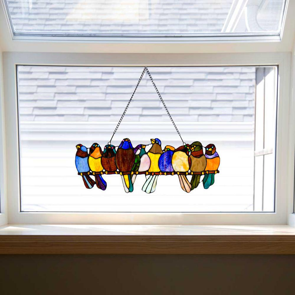 stained glass windows for home residential river of goods multi stained glass birds on wire window panel10279 the home depot panel