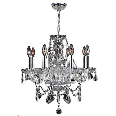 Provence Collection 8-Light Polished Chrome and Crystal Chandelier