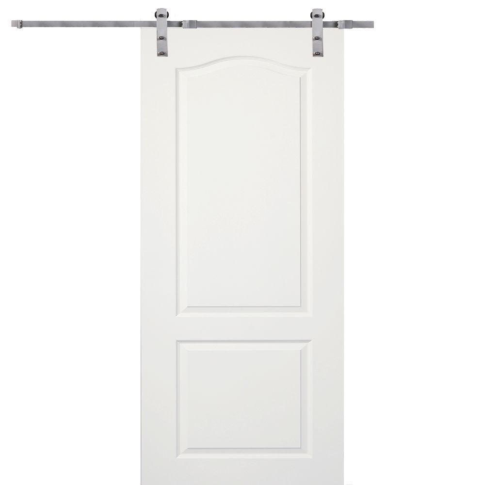 MMI Door 36 in. x 80 in. Primed Princeton Smooth Surface Solid Core Door with Barn Door Hardware Kit
