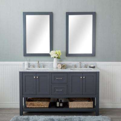 Wilmington 60 in. W x 22 in. D Vanity in Gray with Marble Vanity Top in White with White Basin and Mirror