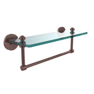Southbeach 16 in. L  x 5 in. H  x 5 in. W Clear Glass Vanity Bathroom Shelf with  Towel Bar in Antique Copper