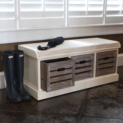 Melody White and Gray 3-Drawer Bench with Gray Cushion
