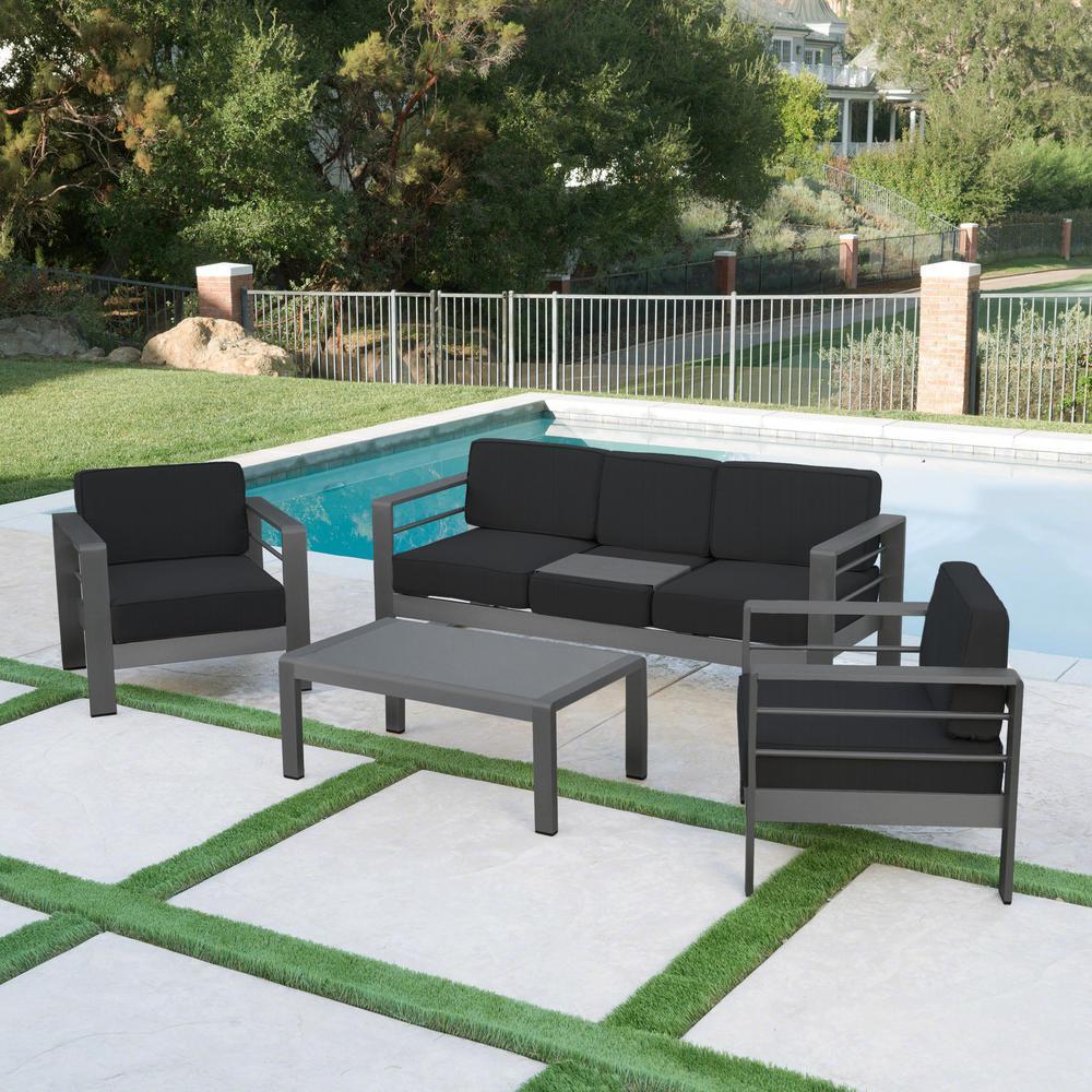 Cape Coral Grey 4-Piece Aluminum Patio Conversation Set with Dark Grey Cushions