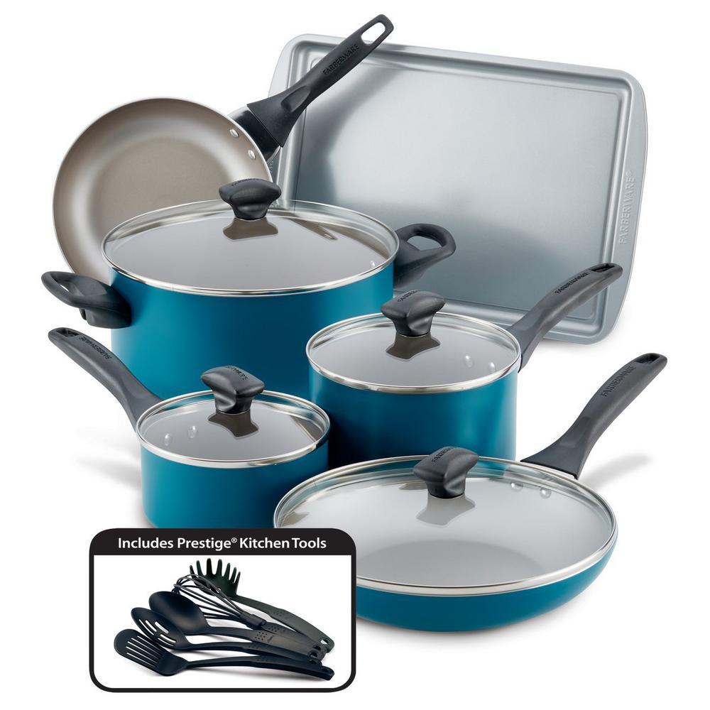 Dishwasher Safe 15-Piece Aluminum Nonstick Cookware Set in Teal