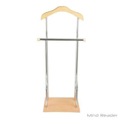 19.88 in. W x 43.31 in. H Bamboo Wood Valet Suit Garment Rack Stand